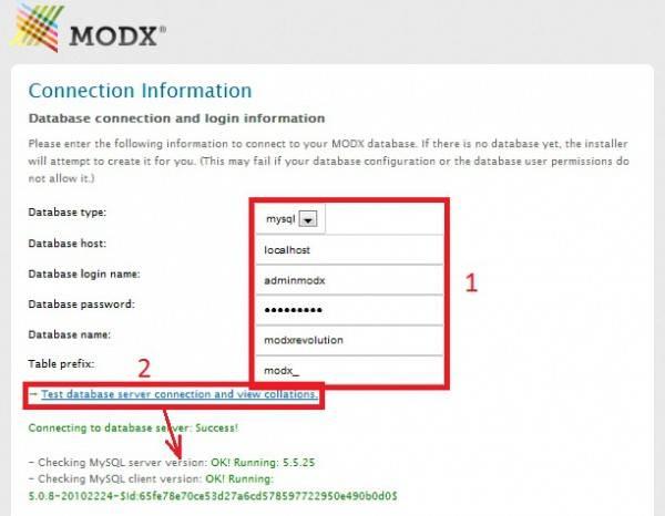 MODX REVOLUTION - Ввод данных пользователя, базы данных и тестирование соединения с базой