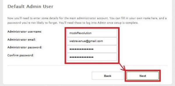 MODX REVOLUTION -создание администратора базы