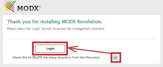MODX REVOLUTION - удаление папки Setup