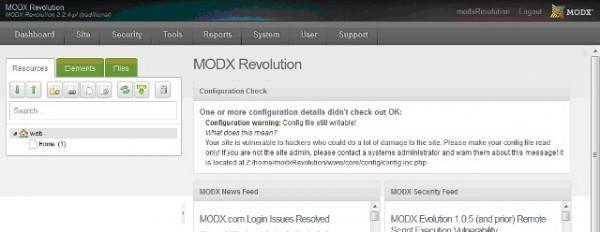 менеджер (админка) MODX REVOLUTION