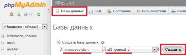 создание базы данных для MODx Revolution