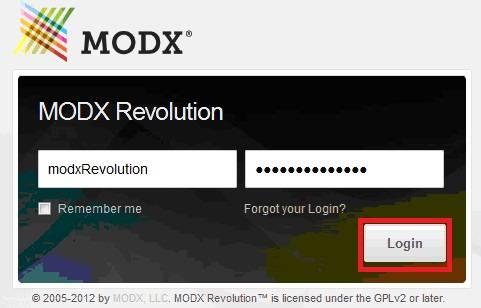 вход в менеджер (админку) MODX REVOLUTION