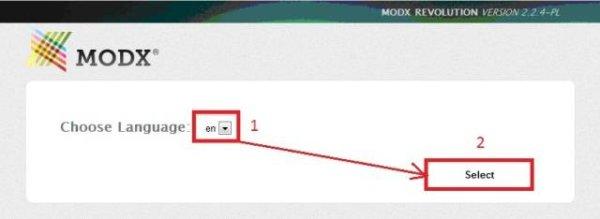 выбираем язык при установке MODX REVOLUTION