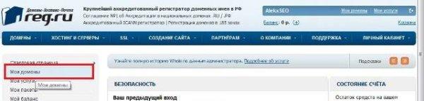 переход в раздел мои домены на reg.ru