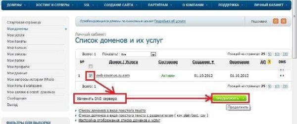 смена dns-сервера домена зарегистрированного на reg.ru