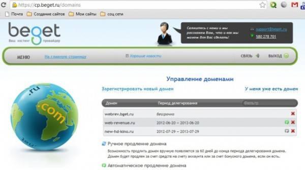 страница управления доменами