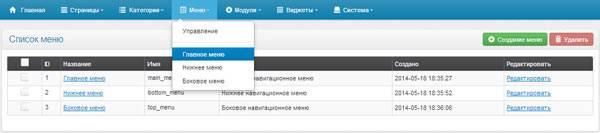 Список созданных меню в imagecms