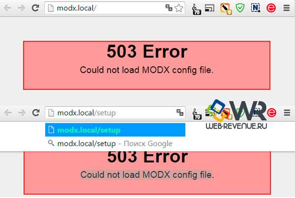 Could not load MODX config file