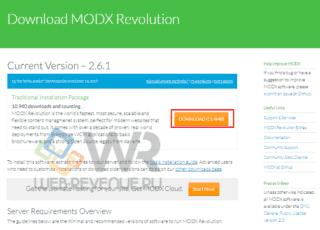 Скачиваем MODX и ознакамливаемся с минимальными требованиями