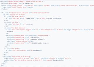 Код стандартного bootstrap 4 меню