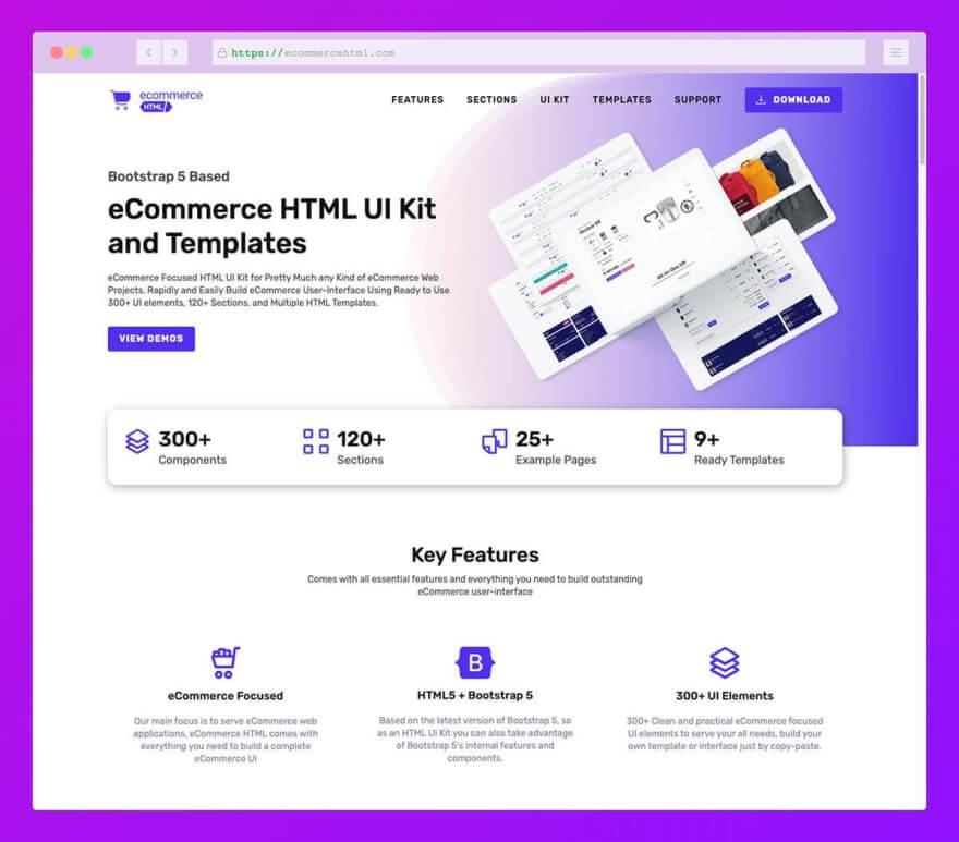 интерфейса HTML для электронной коммерции Bootstrap 5